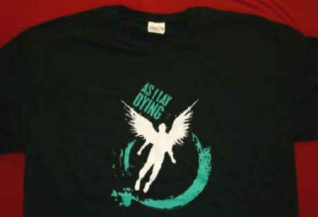 As I Lay Dying T-Shirt Wings Logo Black Size XL