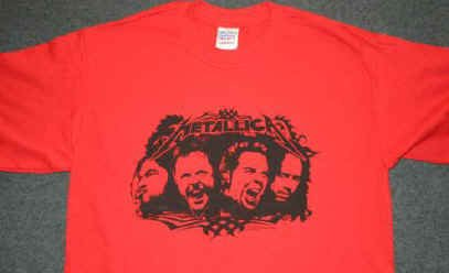 Metallica T-Shirt Faces Logo Red Size XXL