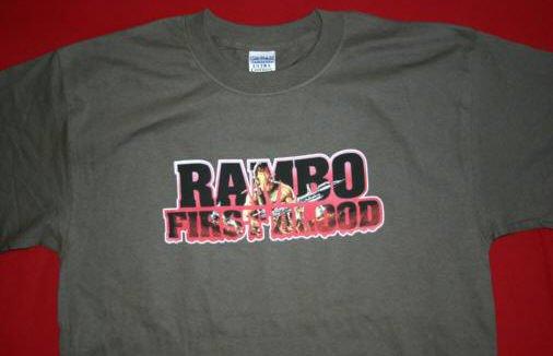 Rambo T-Shirt First Blood Logo Olive Green Size XL