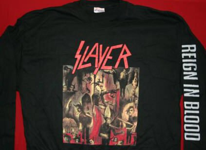 Slayer Long Sleeve T-Shirt Reign in Blood Black Size Large