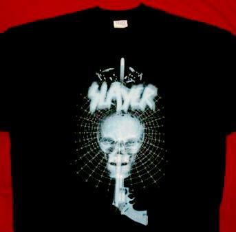 Slayer T-Shirt Gun Skull Logo Black Size Large
