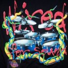 Drum Kit T-Shirt Wired For Sound Touch Tone Black Size Medium