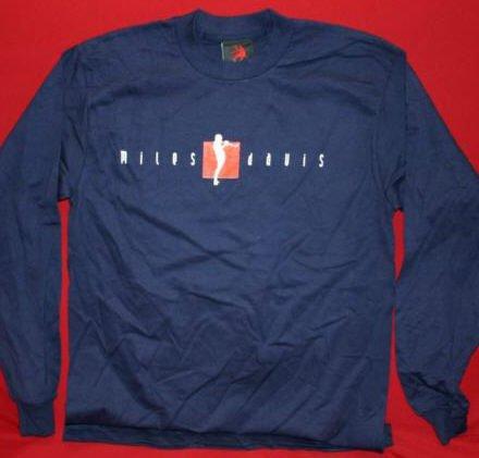 Miles Davis Long Sleeve T-Shirt Trumpet Logo Navy Blue Size Medium