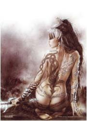 Luis Royo Poster Flag Faces of Hecate Tapestry