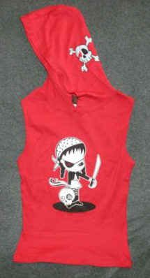 Sugar Hiccups Pirate Girl Sleeveless Hoodie Red Size Large