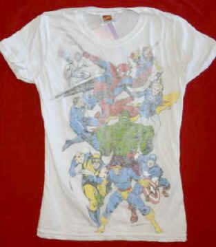 Super Heroes Babydoll T-Shirt Reverse Print White Size Medium