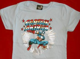 Captain America Babydoll T-Shirt Blue Size Large
