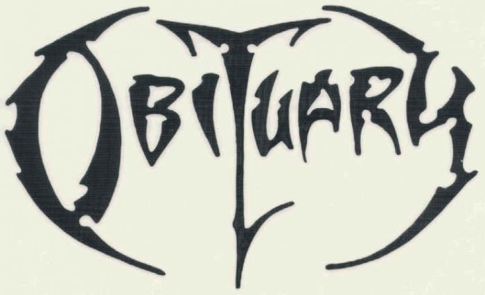 Obituary Vinyl Cut Sticker Black Letters Logo
