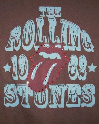 Rolling Stones Babydoll T-Shirt Tongue Logo Brown Large