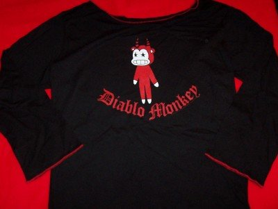 Diablo Monkey Love Girlie Shirt Black Size Large New