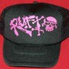 Rufio Mesh Trucker Hat Pink Skull Logo Black One Size