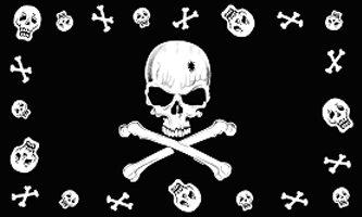Pirate Skull Border Flag Black 3' x 5' New