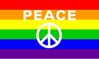 Peace Sign Rainbow Flag 3' x 5' New