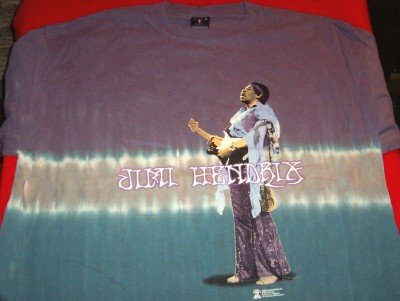 Jimi Hendrix T-Shirt Playing Guitar Tie-Dye Size Medium