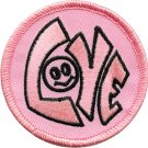 Love Happy Face Iron-On Patch Pink Circle