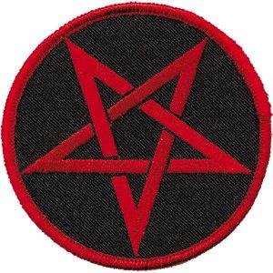 Pentagram Iron-On Patch Round Red Logo