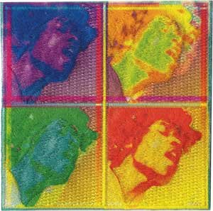 Jimi Hendrix Iron-On Patch Four Faces Logo