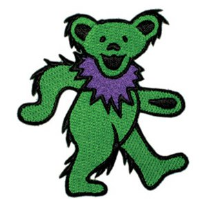 Grateful Dead Iron-On Patch Green Dancing Bear