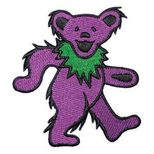 Grateful Dead Iron-On Patch Purple Dancing Bear