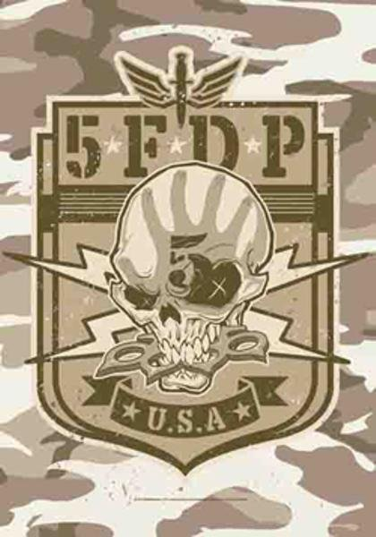 Five Finger Death Punch Poster Flag Camo Skull Tapestry