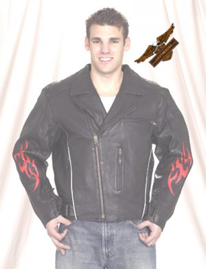 Black Jacket w/ Reflective Red Flame - Naked Leather