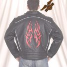 Black Jacket w/ Reflective Red Flame - Soft Leather