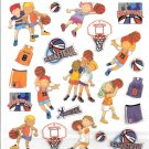 8 Basketball players Boy & Girl, uniforms, balls, hoops