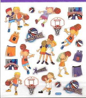 8 Basketball players Boy & Girl, uniforms, balls, hoops