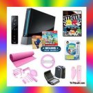 Black NINTENDO WII PINK BUNDLE w. Super Mario Bros. / Wii Fit Yoga Mat and More
