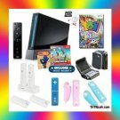 NINTENDO WII Black Super Mario Fun Holiday Bundle w/ Games, Travel Bag, and More