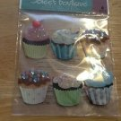 New Scrapbook Embellishment stickers Birthday Cupcakes $3.99