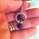 Sterling Silver Purple Stone Ball Dangle Earrings .925 $12.99