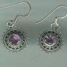 Sterling Silver .925 Amethyst Bezel Set Dangle earrings $29.99