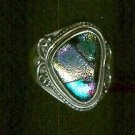 Bold rainbow Dichroic Glass Bezel Set Ring Size 7 Sterling Silver $34.99
