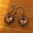 Sterling Silver .925 Bezel Set Heart Topaz Earrings $24.99