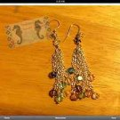 Sterling Plated Multi Colored Crystal Star Bead Dangle Earrings Handmade $14.99