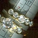Bezel Set Cubic Zirconia Gold Engagement and Matching Wedding Band Ring SALE $15