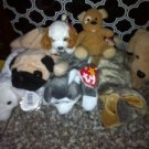 Lot of 7 Plush Stuffed Animals TY Beanie Babies Dogs $12.99