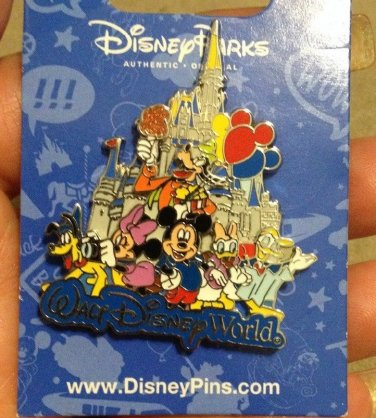 Authentic Walt Disney World Castle Fab 6 Pin Baloons Cotton Candy Mickey Donald
