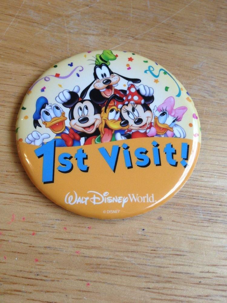 New1st Visit Walt Disney World Badge Fab 6 Pin Donald Mickey Minnie Pluto Goofy