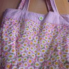 Pink & White Handmade Daisy Flower Totebag Purse or Diaper bag