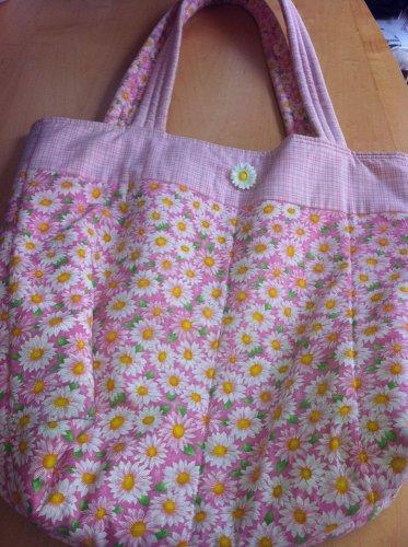 Pink & White Handmade Daisy Flower Totebag Purse or Diaper bag