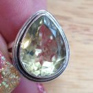 New Solid Sterling Silver .925 Large Yellow Citrine Pear Ring Size 7