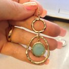 Goldtone Faux Aqua Chyrophrase Dangle Earrings