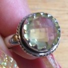 New Solid Sterling Silver .925 Citrine Crown Cushion Cut Bezel Set Ring Size 6