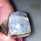 Sterling Silver .925 Free Form Moonstone Cigar Band Ring Size 6.75