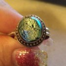 New Solid Sterling Silver .925 Dichroic Glass Green Sparkle Ring Size 7.5
