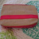 New Mini Seagrass Straw And Vinyl Pink Cosmetic Bag