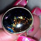 Sterling Silver .925 Multi Color Rainbow  Dichroic Glass Oval Ring Size 6.5