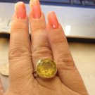 Sterling Silver .925 Bezel Set Lemon Topaz Huge Solitare Ring Size 8.5